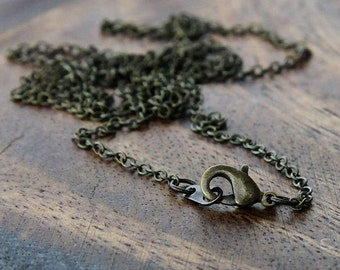 10 Finished Chain Necklaces 2mm, Antique Brass
