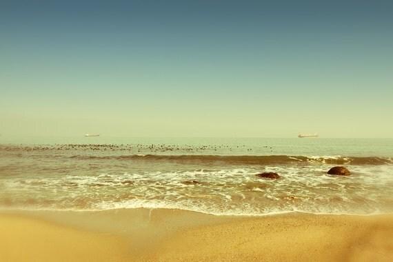 Summer Beach Photograph, Aquamarine Blue and Yellow Sea Water Photo, Aqua Sea Coastal, Seashore Photo, 8x12 8x10 10x15 11x14 20x24 20x30