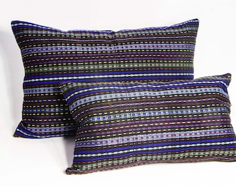 Indigo Blue,Set of 2 Pillow Cases, , Hand Woven/Embroidered Woolen Pillow Case, Striped Pillow Cower,,Sofa Couch Pillow
