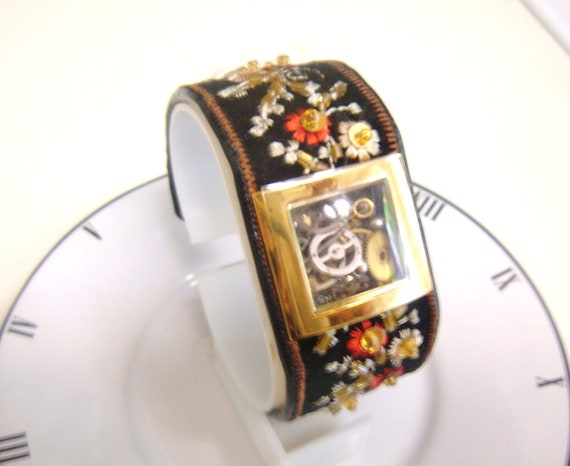 Embroidered Watch Case Cuff  Bracelet Filled with Vintage Watch Parts