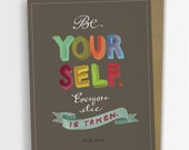 "Oscar Wilde ""Be Yourself"" Inspirational Quote Card, Graduation Card 161-C"