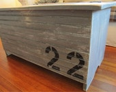 Reclaimed Wood, Painted, Bead Board, Coffee Table, Storage, Trunk, Cottage Grey