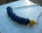 Skyburst Reclaimed Blue and Yellow Wood Necklace