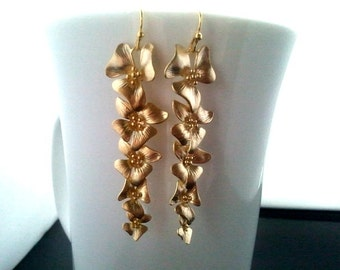 Gold Orchids Flowers Gold  ,Drop, Dangle, Earrings,bridesmaid gifts,Wedding jewelry