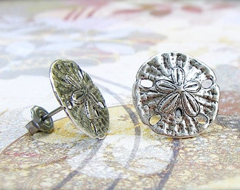 Antique Silver Sand Dollar surgical steel post earrings, summer, beach, vacation, ocean, sea jewelry