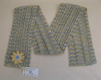 Knit Scarf with Flower Pin