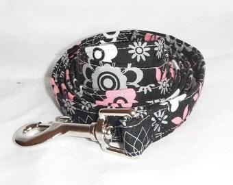 Dog Leash Black And Pink Flower Print