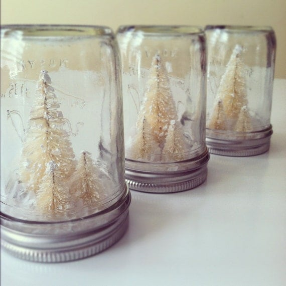 Half Pint Frosty White Trees Mason Jar Christmas Decoration