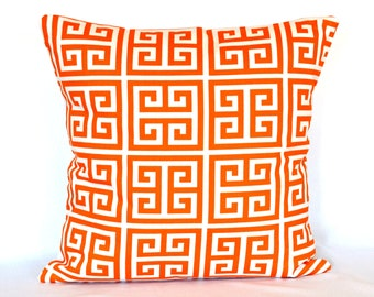 Pillow Cover Accent pillow Throw pillow key Greek Orange pillow cover 18x18 inches