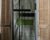 SALES. Half price.Beautifull handwoven 100% pure silk Ikat , wall hanging,bed throw,silver,black, green , graphic pattern