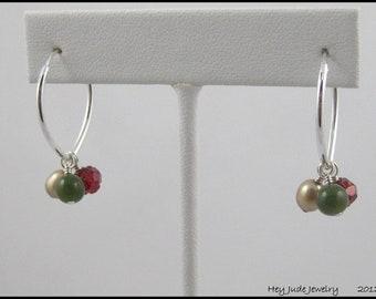 Handmade Earrings - Convertible, multiple looks- Sterling, Jade, & Pearls