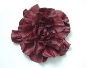 Deep red leather handmade flower pin brooch