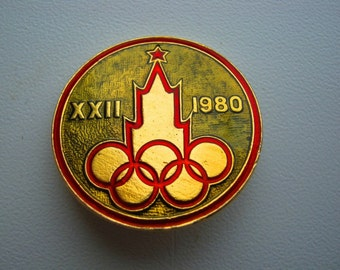 """USSR  Soviet union olympics games  big pin badge """"Moscow 1980"""""""