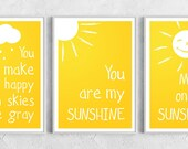 Set of 3 art prints - You Are My Sunshine - Positive print yellow white love poster cloud rain raindrops love gift summer nursery decor