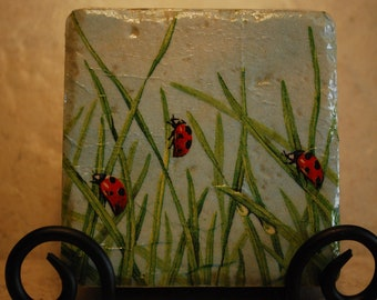 Lady bugs and springtime grass Custom Made Ceramic Tile Coasters set of 4 or more