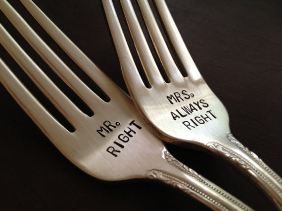 vintage silverware hand stamped wedding fork cake fork Mr Right and Mrs Always Right
