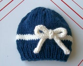 Nautical bow hat- newborn baby girl hat with bow- ready to ship photo prop