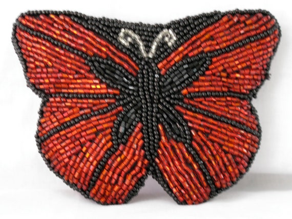 NEIMAN MARCUS Beaded Butterfly Change Purse / Red and Black
