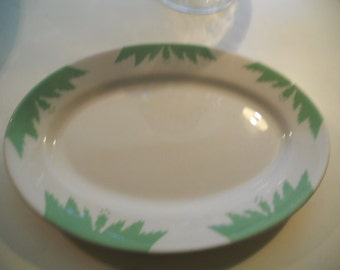 Vintage Green and White Platter