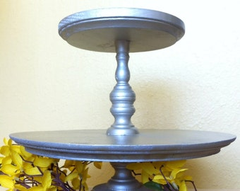 SALE ** Rustic 2 tier Cupcake Stand, Cake Stand, Two Tier Cake Stand, Dessert Stand