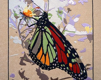 Embroidered Monarch Butterfly, wall art.