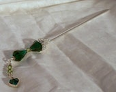Emerald & Peridot Silver Hairstick