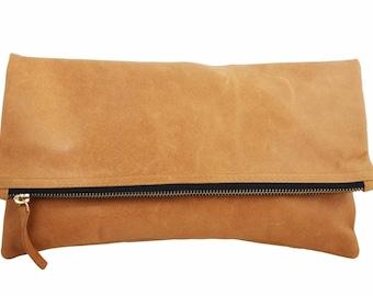Fold Over Leather Clutch Camel Brass Zipper Black