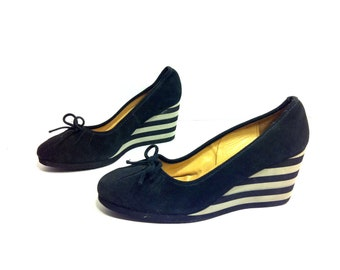 REDUCED~ Striped Leather Wedge Mules 9.5 - Platform Ballet Flats 9.5 - Pirate Shoes