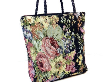 90s Floral Tapestry Shoulder Bag - Floral Tote Bag