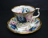 Magnificent Cup and Saucer Set by Royal Albert Summer Bounty Series Sapphire England Bone China