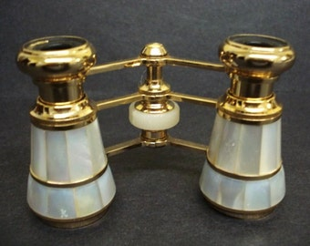 CLASSIC ELEGANCE Mignon Opera Glasses 3 X Made From Genuine Mother of Pearl Made in France