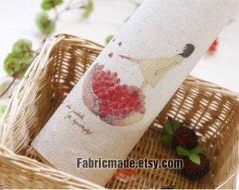 "Linen Fabric, Hand Printed Linen Cotton-  Pomegranate & Girl Panel 8""x 8"" (20cm X 20cm)"