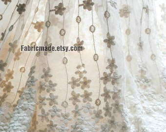Sale- Beige White Wedding Fabric, French Lace Fabric, Bridal Lace Fabric,  Two Edges Embroidered Lace Fabric - 1/2 yard Lace