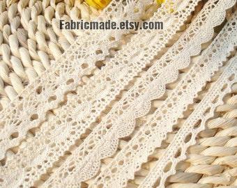 Cotton Lace Fabric Trim - Beige Cream Floral Crochet Cotton Net Lace Ribbon Trim 5 Designs Set 10 Yards
