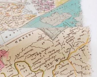 Vintage Linen Cotton Fabric Vintage England Map on Beige - A Half Yard