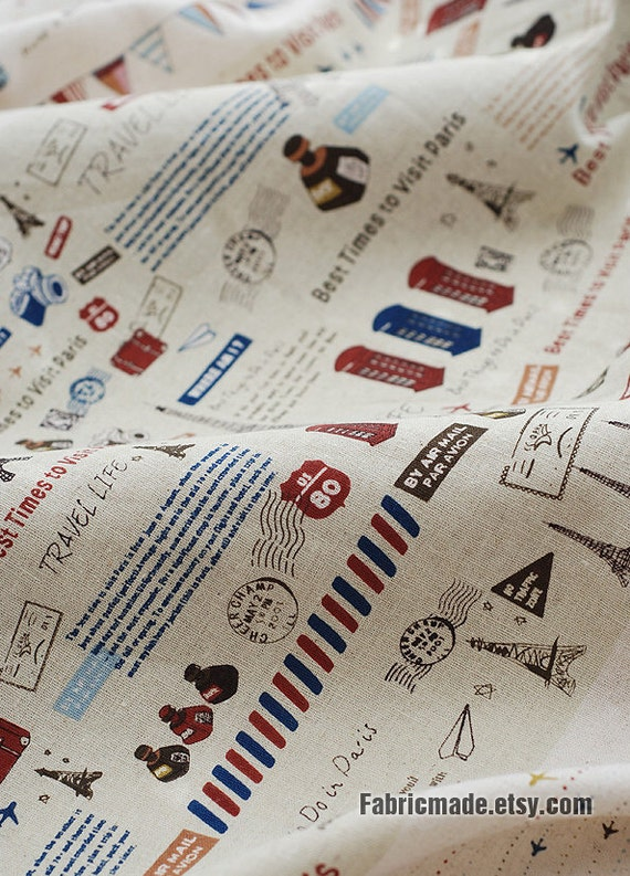 French Cotton Linen Fabric Clothes Paris Travel Red By