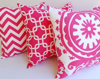 Throw pillow covers set of three Chevron Suzani Gotcha hot pink and white cushion covers