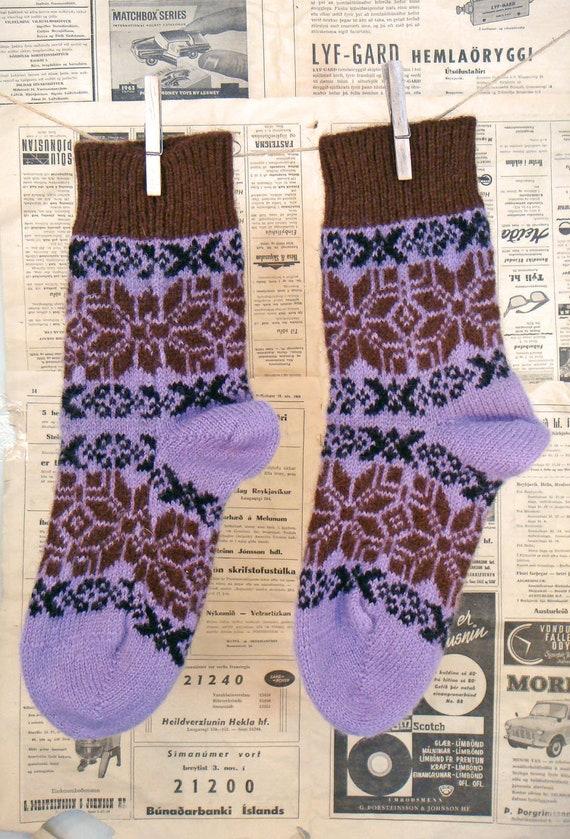 Comfortable and unusual warm wool socks. Mixed wool 50 percent sheep wool and 50% goats wool. Scandinavian style. Unisex socks