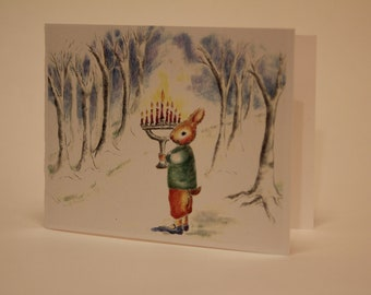 Hanukah Bunny with Menorah greeting card illustration