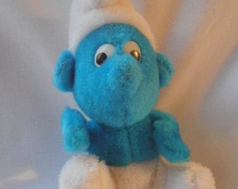 Vintage Smurf Small Plush Toy 1980