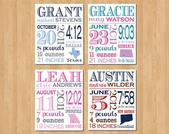 8x10, Custom Birth Print, Baby Announcement, Birth Announcement