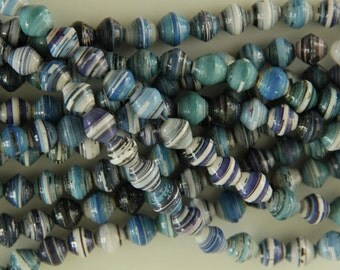 Gorgeous blue round shaped paper beads