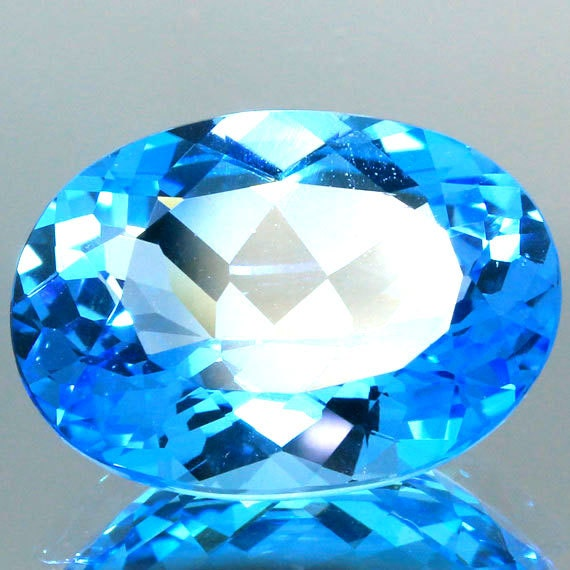 7.61 Ct.Unheated Natural SwissBlue Topaz Oval Faceted Polished Gemstone