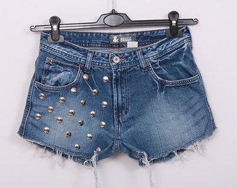 Studded Denim Shorts Vintage DIY Cut Off Jeans