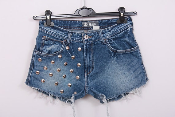Studded Denim Shorts Vintage DIY Cut Off Jeans by SORUTHLESS