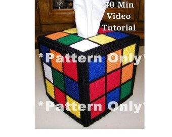 Pattern & Video Tutorial Rubik's Rubiks Cube Tissue Box Cover PATTERN ONLY Big Bang Theory Rubix Rubic