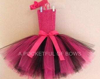 Birthday Tutu Dress, Hot Pink and Black Tutu, Toddler Tutu Dress