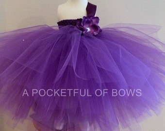Purple Flower Girl Dress Long Purple Tulle Dress Toddler Formals Ball Gown