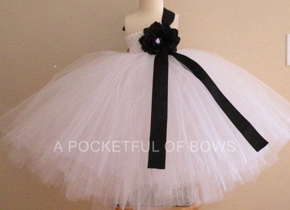 White Flower Girl Dress, White Ball Gown, Long White Tulle Dress