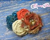 Rust, Orange, Teal, Cream Hair Bow, Fabric Flower Headband, Hair Accessories, Baby Headband, Flower Hair Bow, Fabric Flower Brooch